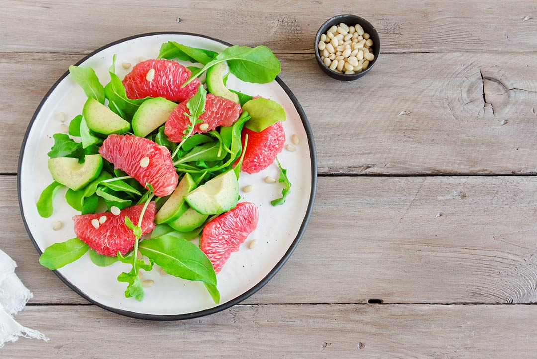 Grapefruit, avocado and extra virgin olive oil